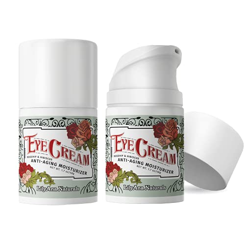 Eye Cream - Eye Cream for Dark Circles and Puffiness, Under Eye Cream, Anti Aging Eye Cream Reduce Fine Lines and Wrinkles, Rosehip and Hibiscus Botanicals - 1.7oz - 2 Pack