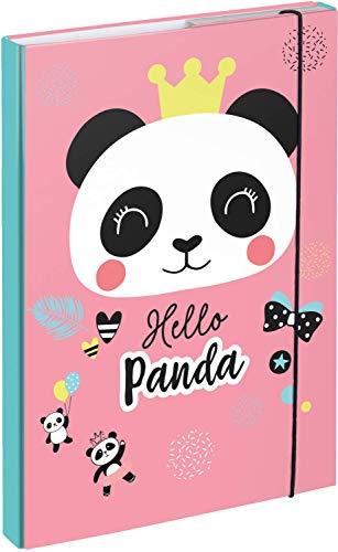 Baagl Heftbox für Schulranzen A4 - Sammelmappe für Kinder mit Gummiband und Innenklappen - Heftmappe, Sammelbox mit Gummizug für Mädchen (Panda)