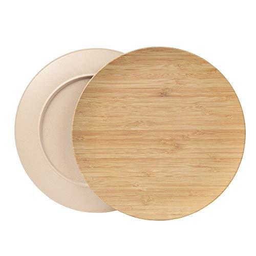 BIOZOYG Platos sostenible Platos Conjunto I Platos de Camping Platos de Madera Platos de Cena vajilla de bambú I 4 Piezas Platos de bambú Plano Redondo Marfil de 25,5 cm, Libre de BPA