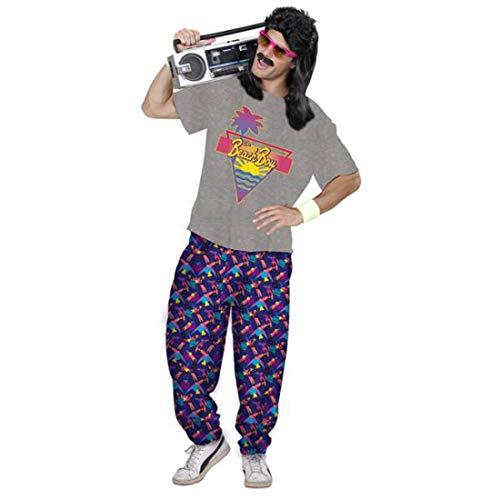 NET TOYS 80er Jahre Strand-Outfit für Männer | Grau-Violett in Größe XL (54) | Lässiges Herren-Kostüm T-Shirt mit Jogginghose | Perfekt geeignet für Bad Taste Party & Mottoparty