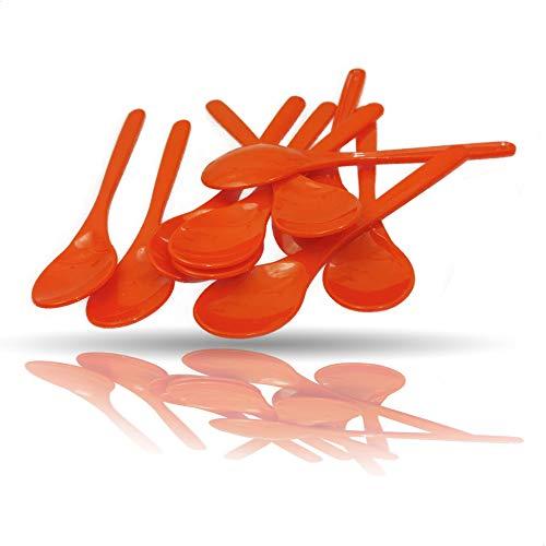 Kerafactum Cucharas de plástico naranja, cucharas de huevo, cucharas de plástico, cucharas de té, cucharas de plación, cucharas de mermelada, cucharas de café, cucharas pequeñas de plástico para yogur