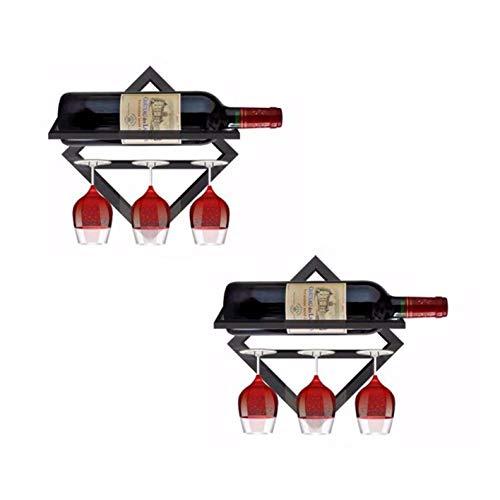 2 Pezzi Portabottiglie da Vino in Ferro a Parete, porta vino da parete per arredamento cucina, sala da pranzo, bar, Cantina, casa e cucina (Black, con portabicchieri)