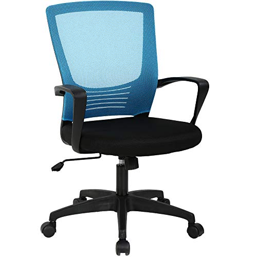 Office Chair Ergonomic Desk Chair with Lumbar Support & Armrest Height Adjustment Swivel Rolling Mid Back Breathable Mesh Chair PC Executive Works Task Computer Chair for Home, Office Blue