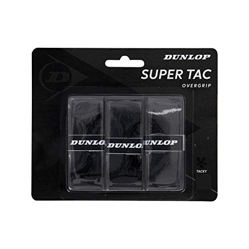 Dunlop Unisex-Adult 10298361 Super Tac Tennis Overgrip schwarz 3 Stück, One Size