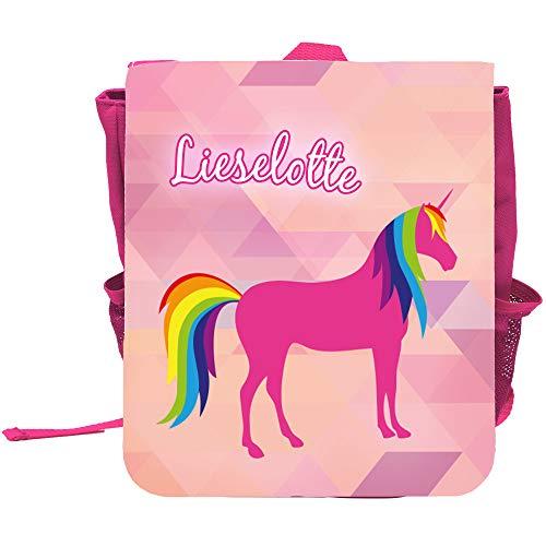 Kinder-Rucksack mit Namen Lieselotte und schönem Einhorn-Motiv mit Regenbogenmähne | Rucksack | Backpack