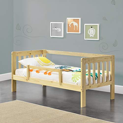 [en.casa] Kinderbett mit Rausfallschutz 80x160 cm Jugendbett mit Schutzgitter und Lattenrost Kiefernholz Natur