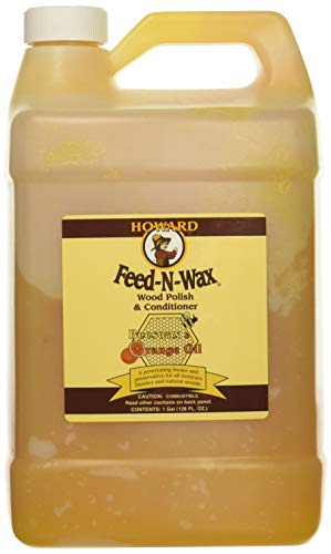 Howard Products FW0128 Feed-N-Wax Wood Polish & Conditioner, 128 oz