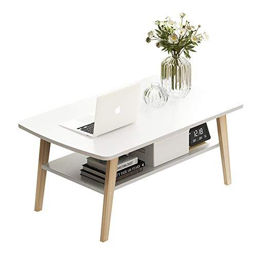 NNDQ Couchtisch für Wohnzimmer mit Bodenablage, Massenspeicher, abgerundete Ecken, solide Tischbeine, hohe Tragfähigkeit, weiß