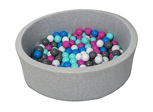 Velinda Bällebad Ballpool Kugelbad Bällchenbad Bällchenpool Kinder Pool mit 150 Bällen (Farbe der Bälle: weiß, blau, pink, grau, türkis)