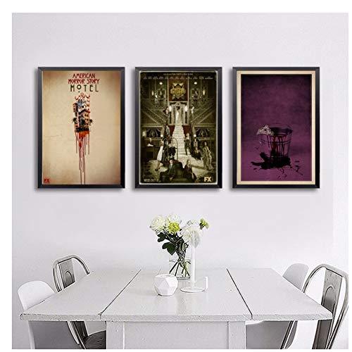 GIRDSS American Horror Story TV Movie Poster Wall Art Decoración de Pared Impresiones de Seda Art Poster Paintings For Living-40X50cmx3 sin Marco