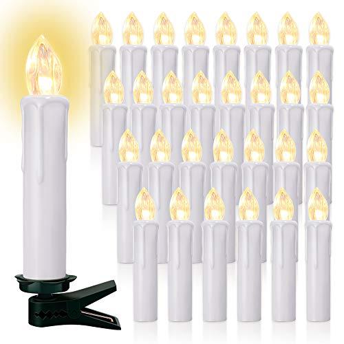 20/30/40er LED Lichterkette Kabellos Weihnachtskerzen Christbaumschmuck Weihnachtsbaumbeleuchtung (weisse Hülle*40)