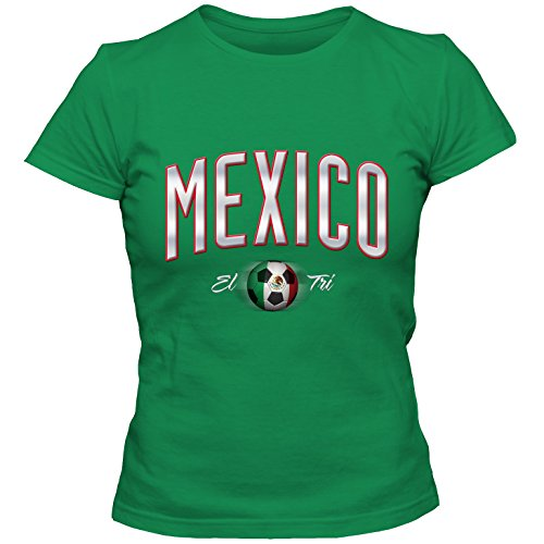 Damen T-Shirt Mexico Mexiko Fußball Soccer Football WM Trikot DTG, Größe:L, Farbe:grün