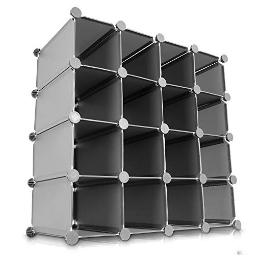LIVIVO Multi-Purpose 16 Section Interlocking Cube Shoe Rack Organiser with Back Panels Configurable Storage and Display Stand and Holder with Space for 16 Pairs of Shoes Boots Trainers (Grey)