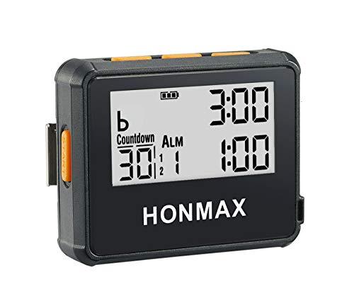 honmax 防水インターバルタイマー+ストップウォッチ,タイマーの用途: HIIT、Cross Fit、無酸素運動、重量挙げ、筋力トレーニング、タバタトレーニング、ケトルベル、MMA、エアロビックトレーニング、ヨガ、瞑想、ピラティス、キッチンタイマー、時間管理、間欠性トレーニング、マラソン、トライアスロン、ランニング、ウォーキング、戸外運動、ボクシングトレーニング、サイクリング、航海、セーリング競技計時等々(BLACK/ O)