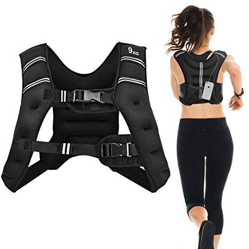 COSTWAY Gewichtsweste, Trainingsweste mit Reflexstreifen und Verstell-Riemen, Fitnessweste für Krafttraining, Laufen, Fitness, Muskelaufbau (9kg)
