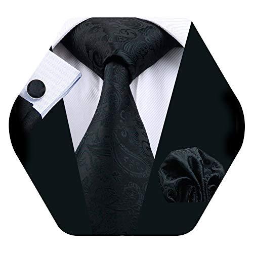 Barry.Wang Men Solid Black Tie Set Silk Necktie Pocket Square Cufflinks Extra Long Tie