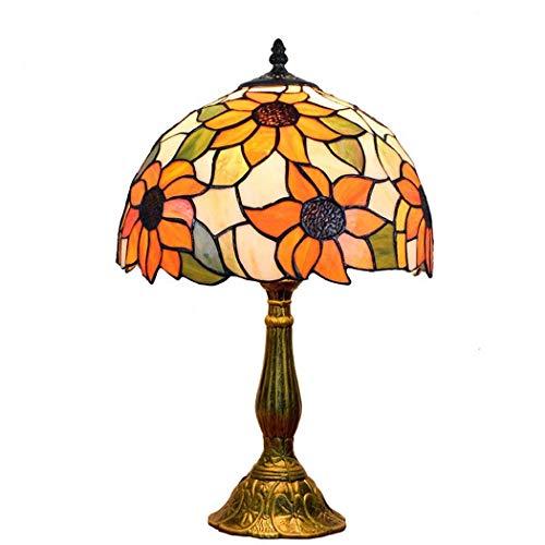 JUNJUNA Lampe de Table Tiffany, Fleur de Soleil, lumière de Nuit créative à la Main, avec Abat-Jour, Base,30cmindiameter