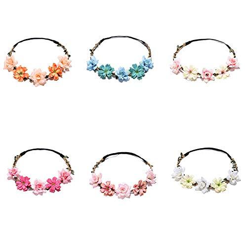Tweal 6 Daisy Blumen Stirnband Haarband Hochzeit Haarkranz Krone mit Justierbaren Elastischen Band Farbig Haarband Damen Mädchen für Party Hochzeit Strand