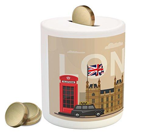 Ambesonne London Piggy Bank, Famous Britain Landmarks...