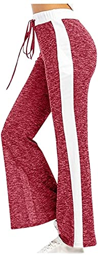 BUTERULES Women's Comfy Palazzo Pants High Waist Drawstring Pajama Lounge Yoga Pants Patchwork Wide Leg Trousers -
