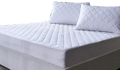 AIMS Waterproof Quilted Mattress Protector 30cm Extra Deep Fitted Cover Microfiber Quilted Topper fitted sheet Elasticated Skirts (Double 140x190cm)