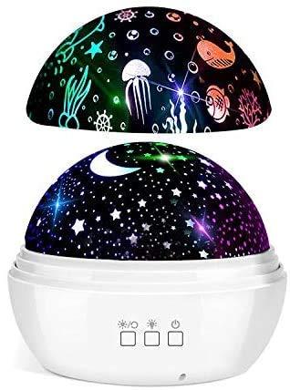 LED Sternenhimmel Projektor, FISHOAKY Ozeanwellen Sternenlicht Projektor, 360°Drehen Projektor Weihnachten, 8 Farben Nachtlichter Projektor für Baby-Erwachsenenpartys, Schlafzimmer