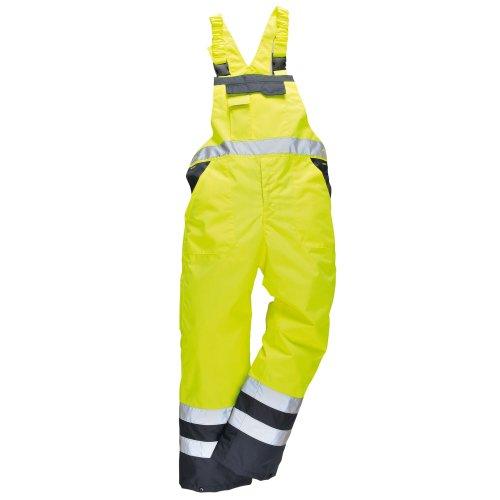 Portwest S488 Unisex Neon-Latzhose/Arbeitslatzhose, ungefüttert (XLarge) (Gelb/Marineblau)