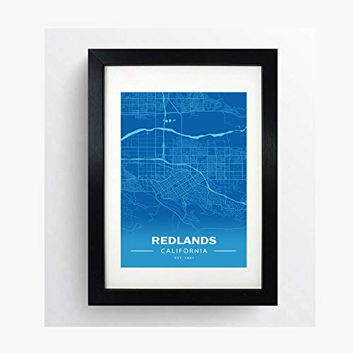 Minimalist Maps Redlands, California Poster Print Artwork - Professional Wall Art Merchandise - Coordinates, Geography, Blue