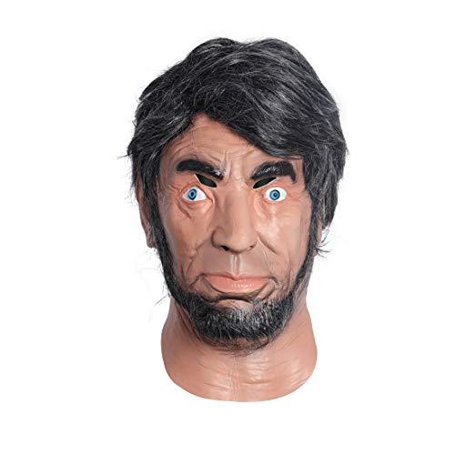MASCARELLO Realistisches menschliches Gesicht Latexmaske Abraham Lincoln Masken Halloween Kostüm Party Cosplay Masken