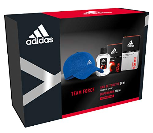 Adidas - Confezione Regalo Team Force: Profumo Uomo 50 Ml, Dopobarba 100 Ml E Cappello Baseball Blu