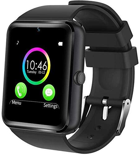 Bluetooth Smartwatch Intelligente Armbanduhr Fitness Tracker Smart Watch Sport Uhr mit Kamera Kontrolle Musik Steuerung Kompatibel mit Micro SIM und SD Slot Android und iOS (Schwarz)