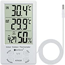 Neoteck 3 in 1 Thermometer Hygrometer with Clock Large LCD Display, Digital Humidity Temperature Meter 1.5m Sensor Wire for Indoor Outdoor Use