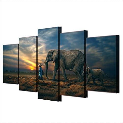 ahorra hasta un 70% BAIF Lienzo de Pintura de 5 5 5 Piezas Modern Home Home Art Decor Frame Modular Pictures 5 Piezas Animal Elefantes Sunset Paisaje Pintura sobre Lienzo para Sala de Estar  nuevo listado