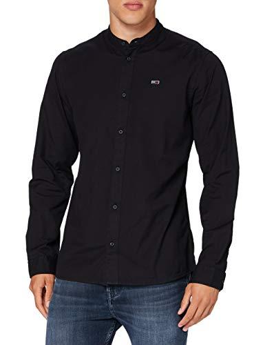 Tommy Jeans Herren TJM Dobby Stripe Mao Shirt Hemd, Schwarz (Black), XX-Large