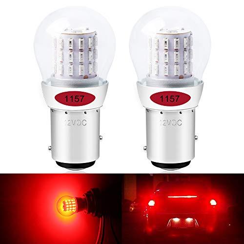ALOPEE- (Paquete de 2) Bombilla de repuesto LED roja brillante para coche para posición trasera y luz de freno para Stock # 1157 1016 1034 7528 2057 2357, con 39 Chipsets 3014, 12V-DC.