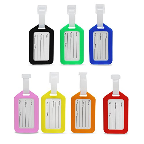 KEESIN 7 Pieces Colorful Secure Luggage Tags Travel Suitcase Baggage Handbag Tag Labels (7-Colorful)