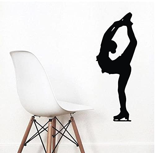 Konståkning väggdekaler kvinna konståkare skridskoåkning sport hem gym vinylklistermärke barn flicka barnkammare babyrum dekor 57 x 21 cm