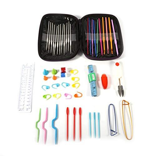 Asixxsix Juego de Ganchillo Multicolor, Estuche de Agujas de Tejer de Acero y Aluminio, artesanía Suave para artesanía de Hilo para Tejer