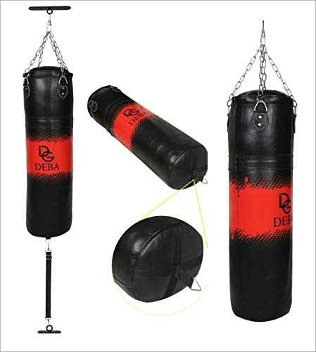 Deba® Boxsack aus 1,3 mm Dickes Rindsleder mit Doppelbefestigungs Zubehör Oben und unten Cowhide Sandsack Punchingsack Boxen MMA Kampfsport mit Stahlkette und Swivel (150x35)