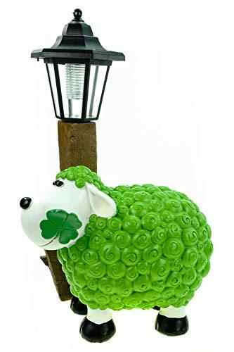 Kremers Schatzkiste Schaf Molly mit LED Solarlaterne 36 cm grün Figur Skulptur Tier Bauernhof Solar Laterne