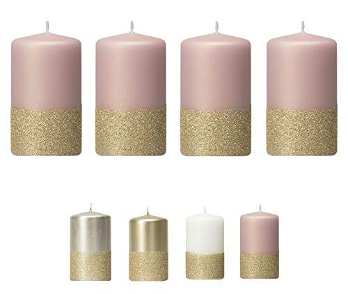 Moderne Adventskerzen mit goldenem Glitter/Glitzer – 4er Set - Kerzen/Stumpenkerzen - Weihnachten/Weihnachtskranz/Adventskranz (Magnolie)
