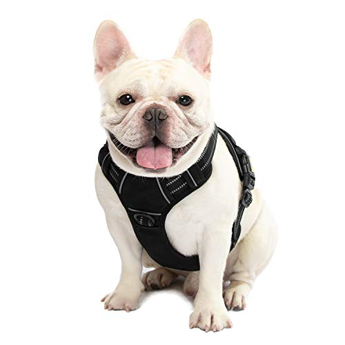 Dog Harness No Pull Reflective, WALKTOFINE Comfortable Harness with Handle,Fully Adjustable Pet Leash Vest for Small Medium Dogs Black M