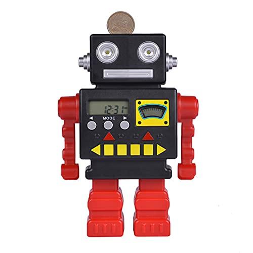 WYYUE Robot Smart Piggy Bank, Inteligente Educación Temprana Pantalla de Tiempo Depósito Electrónico Multifuncional Flash Bank Juguete, Hucha para Niñas y Niños
