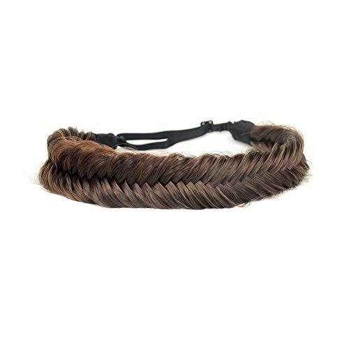 BOBIYA Breites Fischschwanz-Haarband aus Kunsthaar, geflochten, klassisch, grob, geflochtene Zöpfe, elastisch, elastisch, für Damen und Mädchen, Schönheitszubehör (Kupferbraun)