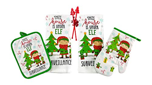Funny Child's Christmas Kitchen Towels Pot Holders Set: This House is Under Elf Surveillance!
