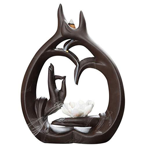 WALNUTA Quemador de Incienso, Quemador de Incienso Reflujo Refinado Patrón Crafts Ministerio del Interior Decoración Escultura