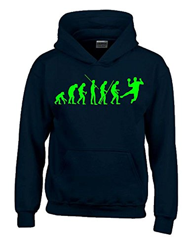 Coole-Fun-T-Shirts Handball Evolution Kinder Sweatshirt mit Kapuze Hoodie schwarz-Green, Gr.164cm