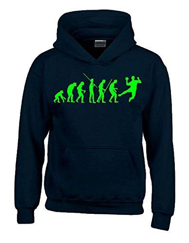 Coole-Fun-T-Shirts Handball Evolution Kinder Sweatshirt mit Kapuze Hoodie schwarz-Green, Gr.140cm