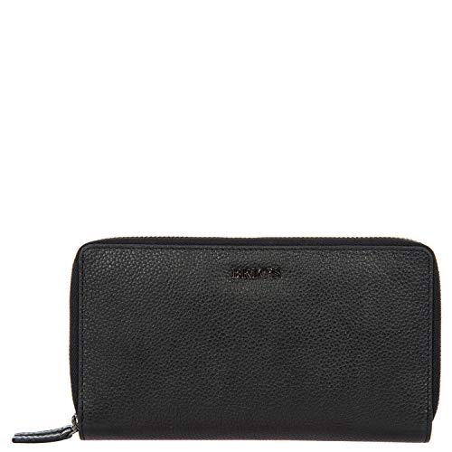 Damen-Geldbörse aus Leder mit Reißverschluss, Einheitsgröße.Schwarz