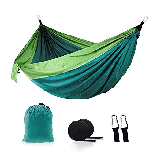 Einzelne doppelte Erwachsene Hängematte Hängematten Schlafende Bett Camping 2 Person Bett Zelt Wandern Reise Im Freien Ständer mit 2 Riemen 2carabiner (Color : Dark Green)